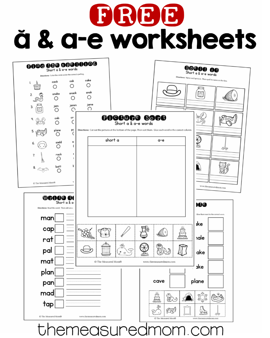 10 Free Short A & A-E Worksheets - The Measured Mom | Magic E Worksheets Free Printable