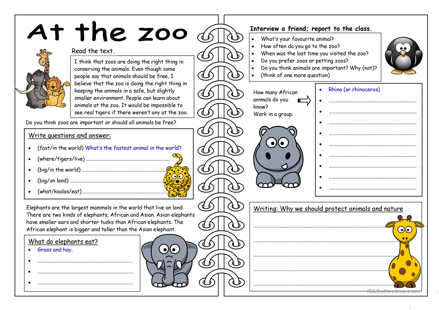 101 Free Esl Zoo Worksheets | Free Printable Zoo Worksheets