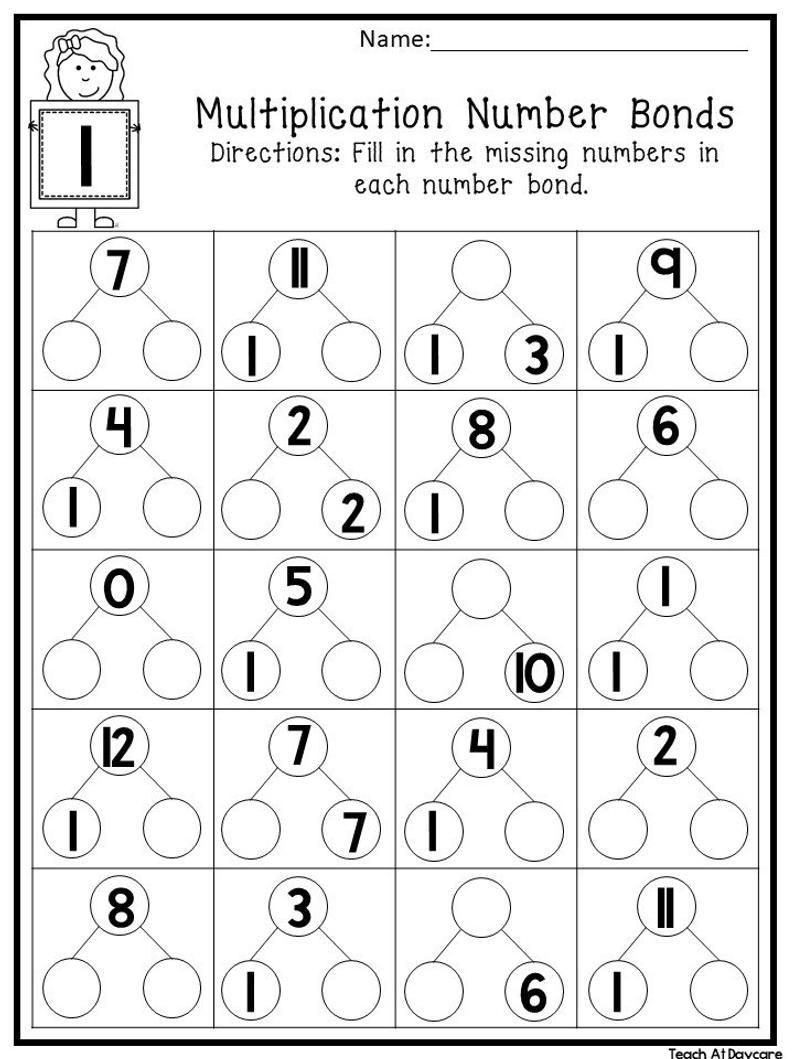 12 Printable Multiplication Number Bonds Worksheets. Numbers 1-12. 1St-4Th  Grade Math. | Printable Number Bond Worksheets