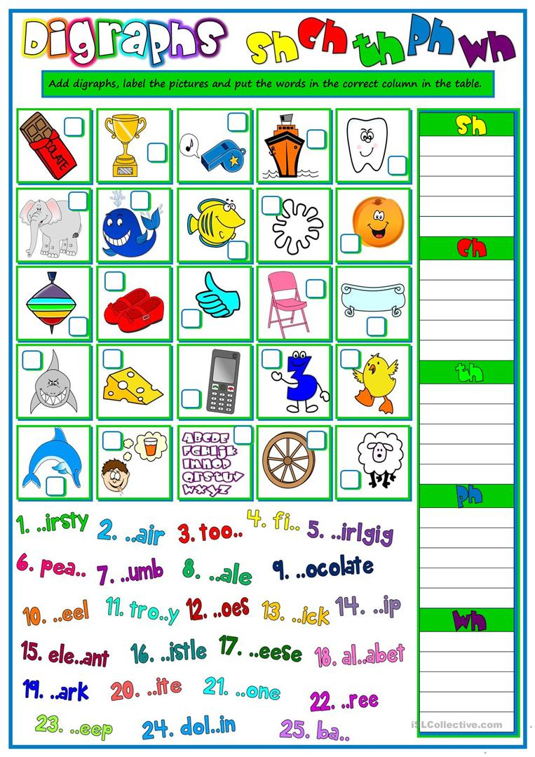 13 Free Esl Digraphs Worksheets | Free Printable Ch Digraph Worksheets