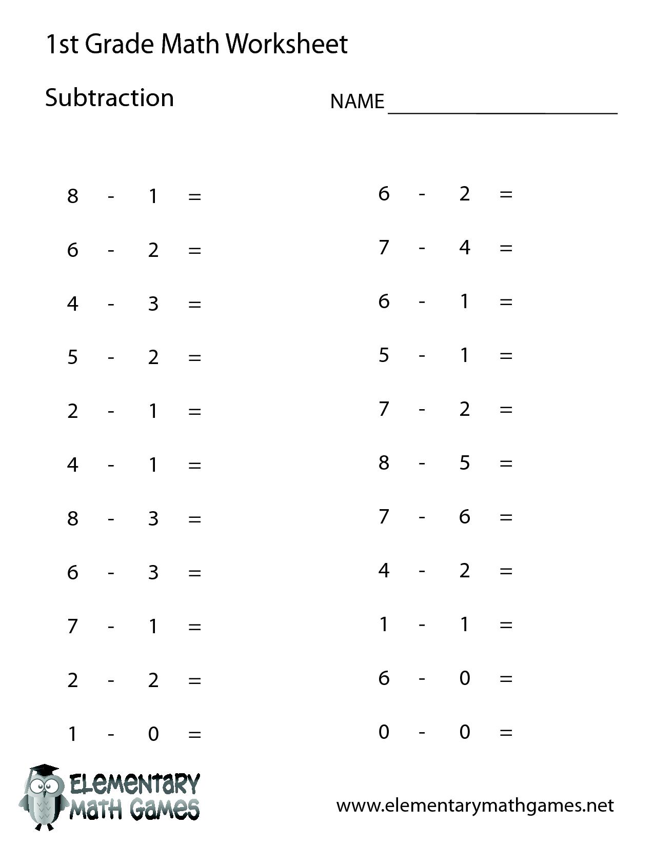 1St Grade Math Worksheets | 1St Grade Math | 1St Grade Math | Free Printable Addition Worksheets For First Grade