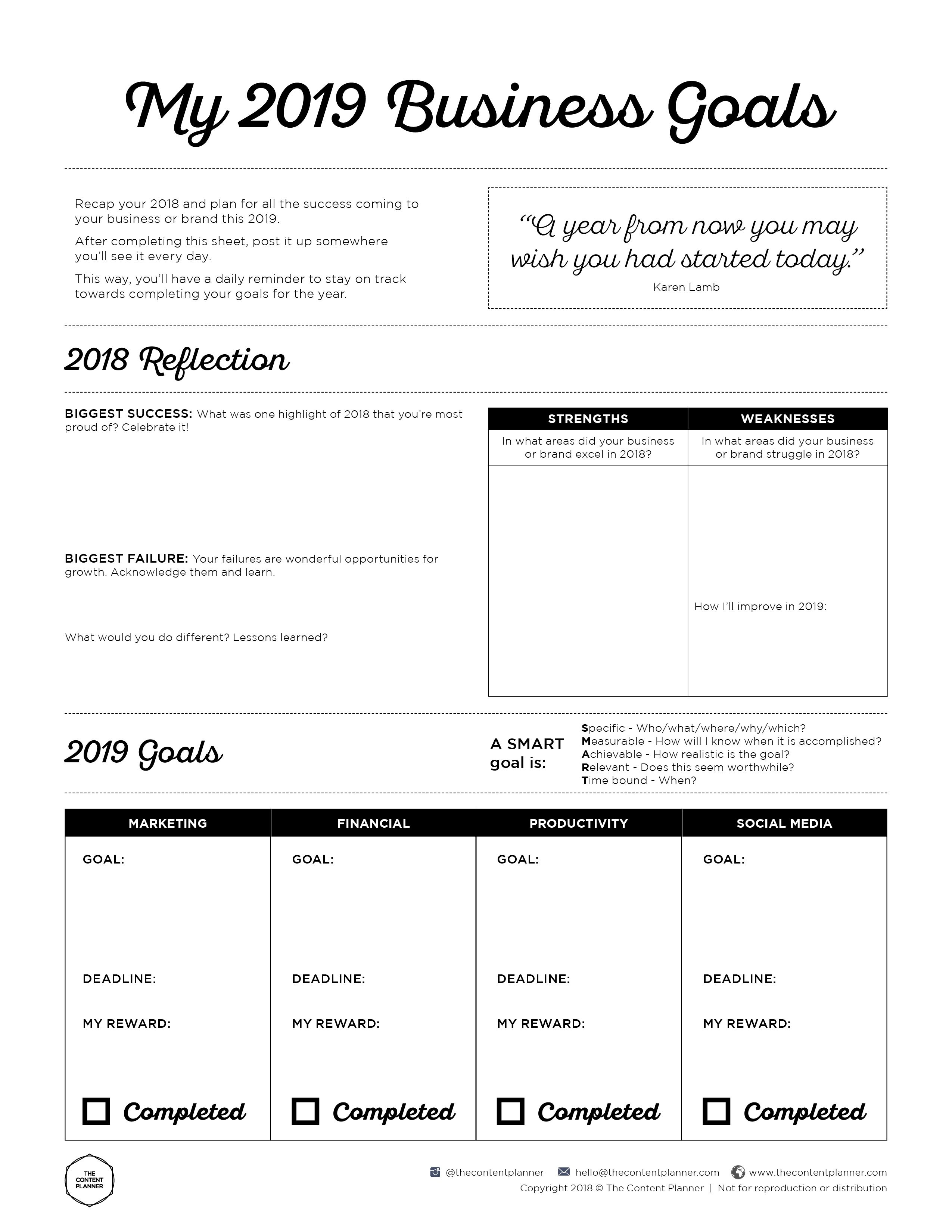2019 Business Goal Setting Worksheet Printable - Free Pdf Download | Business Worksheets Printables