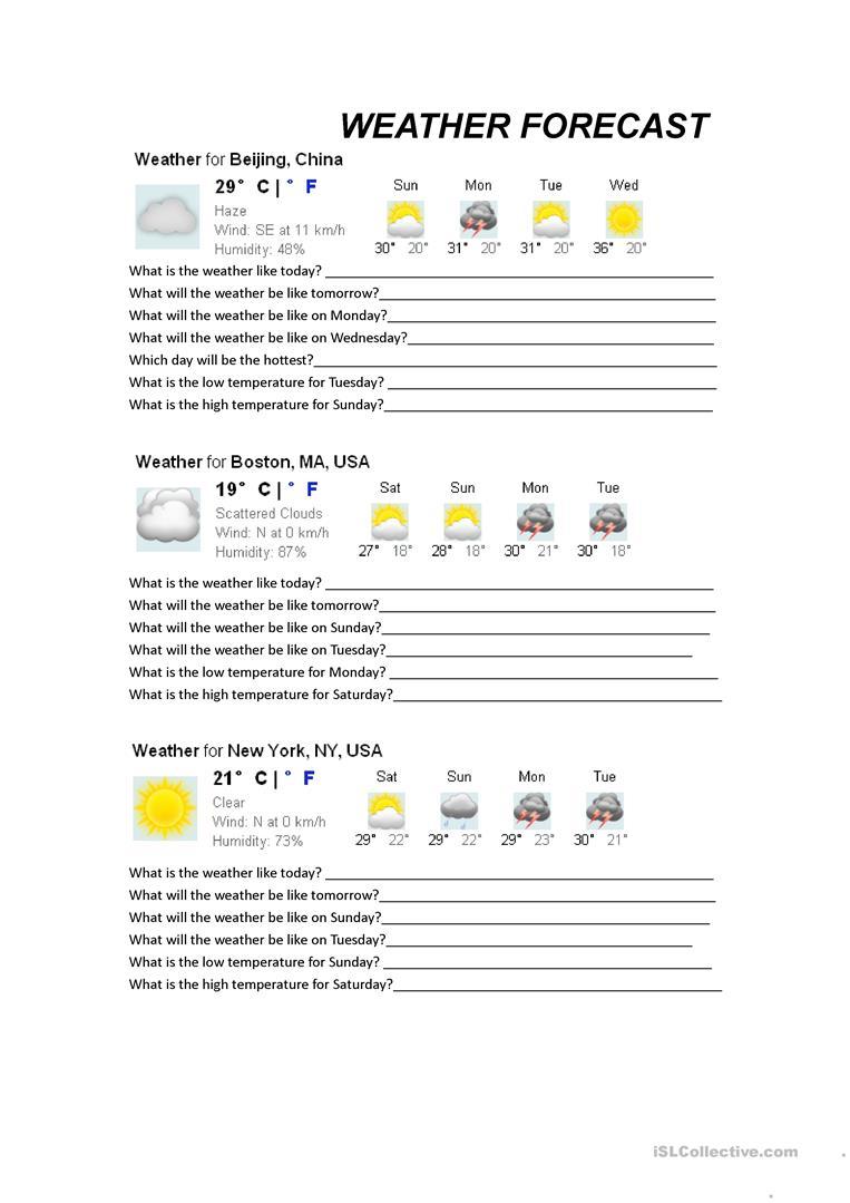 23 Free Esl Forecast Worksheets | Free Printable Weather Map Worksheets