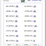 24 Printable Order Of Operations Worksheets To Master Pemdas! | Printable Pemdas Worksheets
