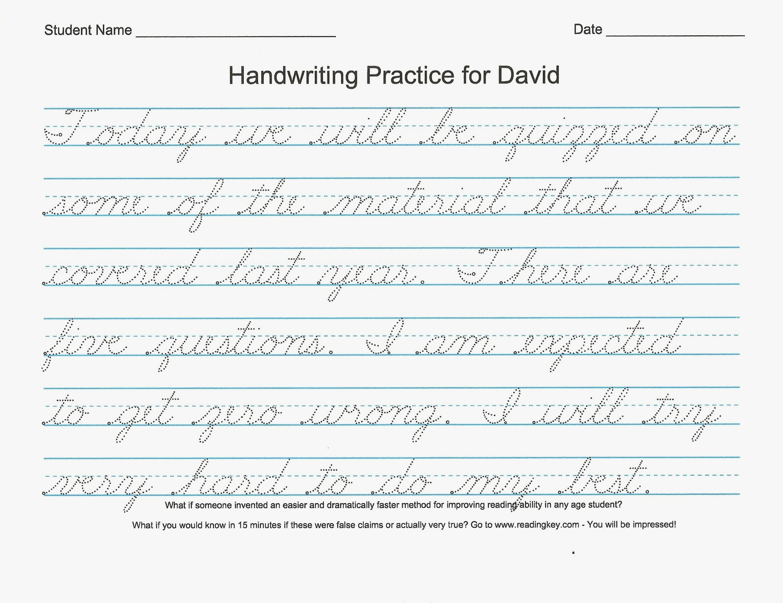 Free Printable Cursive Writing Worksheets For 4Th Grade ...