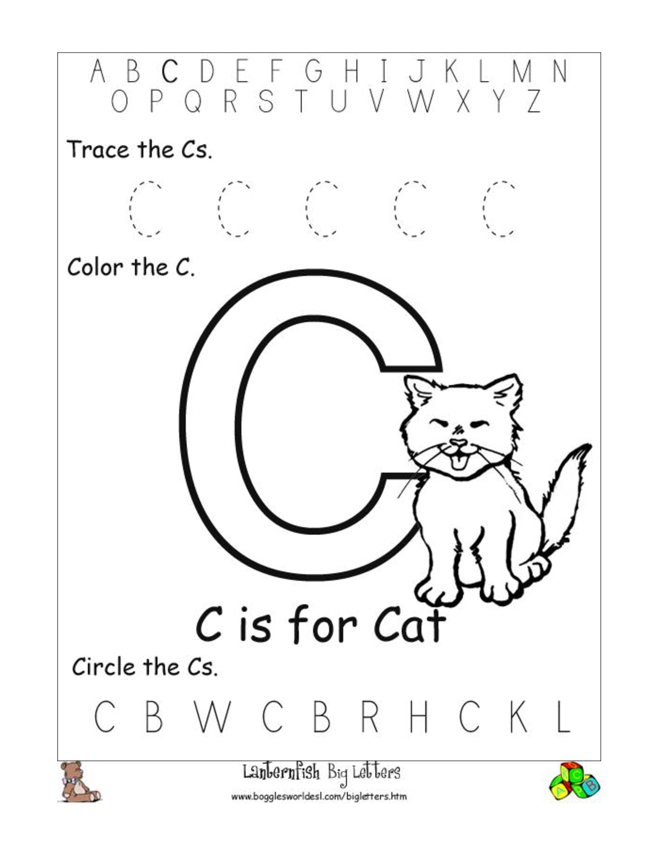 6 Best Images Of Free Printable Preschool Worksheets Letter C | Day | Free Printable Preschool Worksheets Letter C