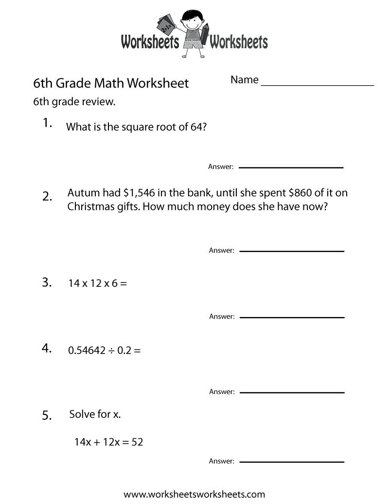 6 Grade Math Worksheets | Sixth Grade Math Practice Worksheet - Free | 6Th Grade Vocabulary Worksheets Printable