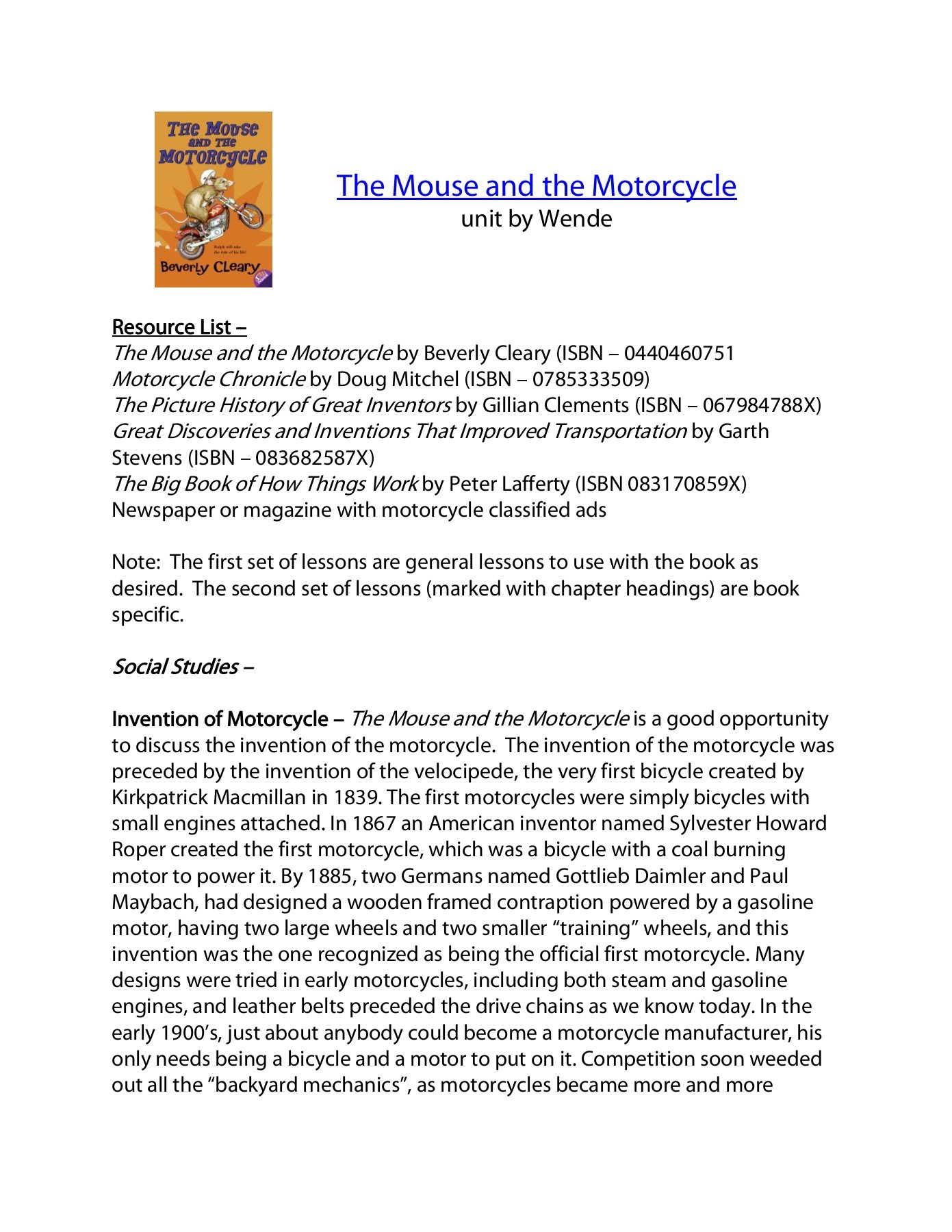 7: The Mouse And The Motorcycle - Teacher Web Pages 1 - 24 - Text | The Mouse And The Motorcycle Free Printable Worksheets