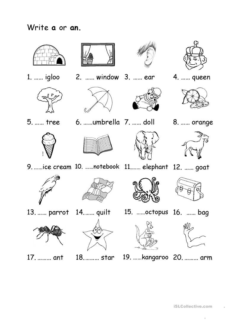 A/an Worksheet - Free Esl Printable Worksheets Madeteachers | A An Worksheets Printable