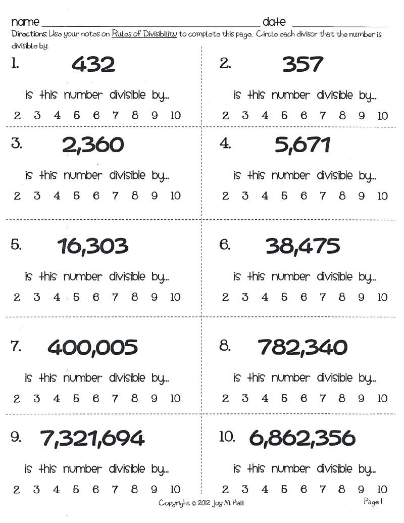 Acumen Divisibility Rules Games Printable Bing Images, Kindergarten | Divisibility Rules Worksheet Printable