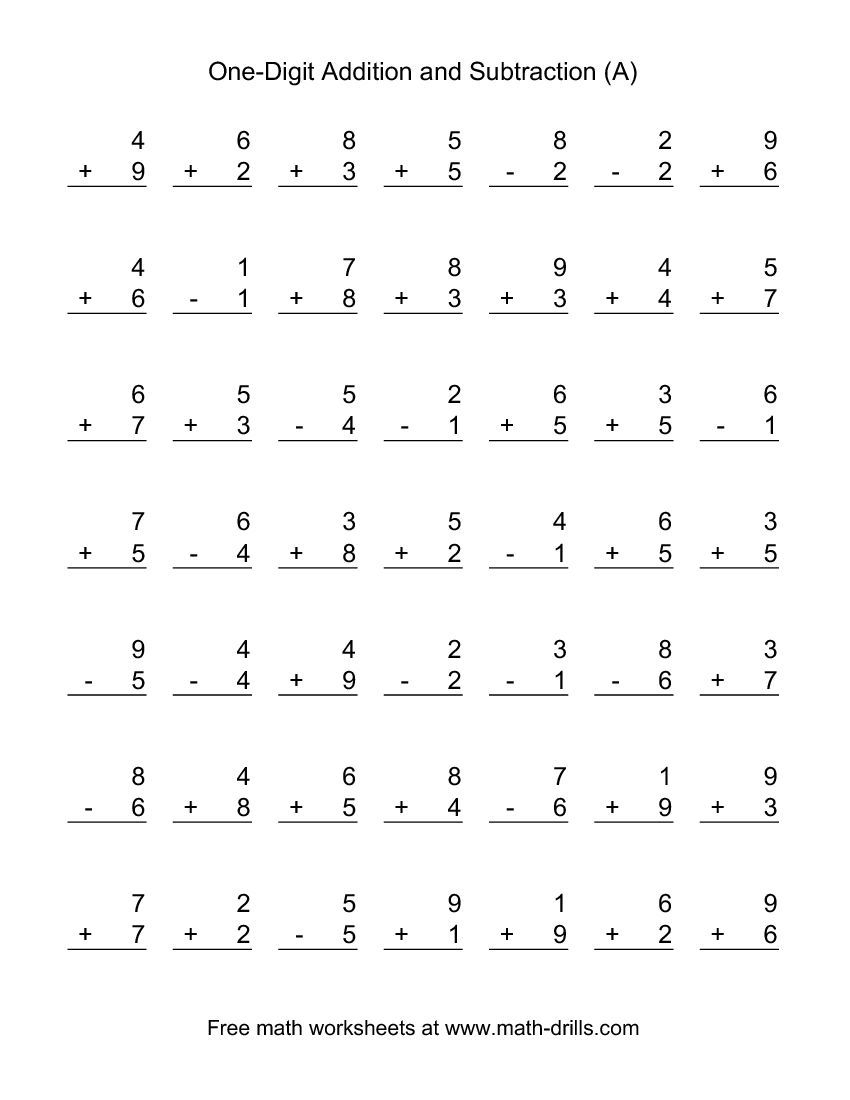 Adding And Subtracting Single-Digit Numbers (A) | Kid Stuff | Free Printable Math Worksheets Addition And Subtraction