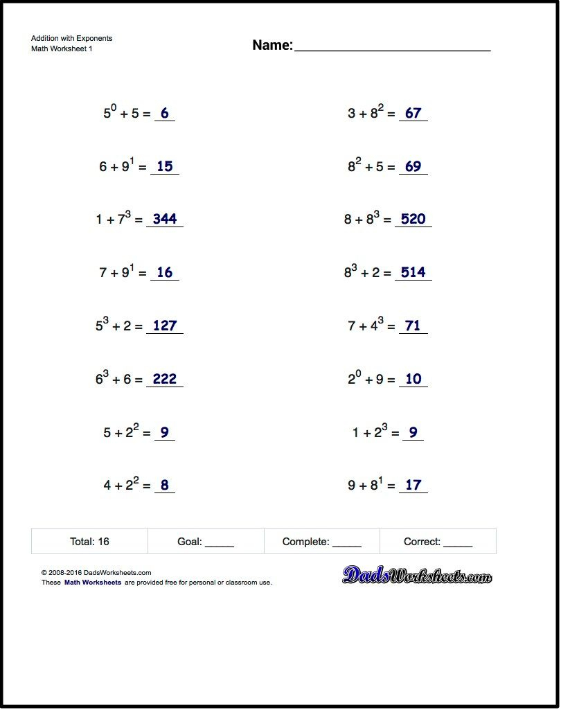 Adding Exponents Worksheets, Including Simple Problems Where - Free | Free Printable Math Worksheets For 6Th Grade
