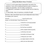 Adding Subordinate Clauses Worksheet | Englishlinx Board | Printable Grammar Worksheets For Middle School