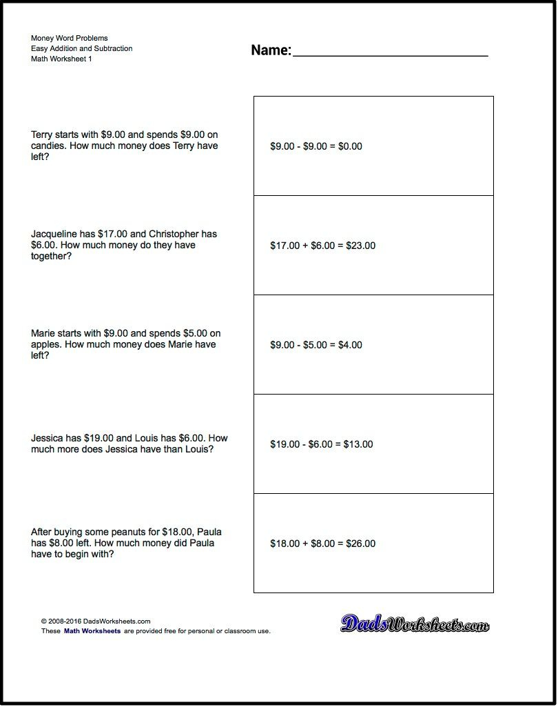 Addition Worksheet And Subtraction Worksheet Money Word Problems | Math Problems Printable Worksheets