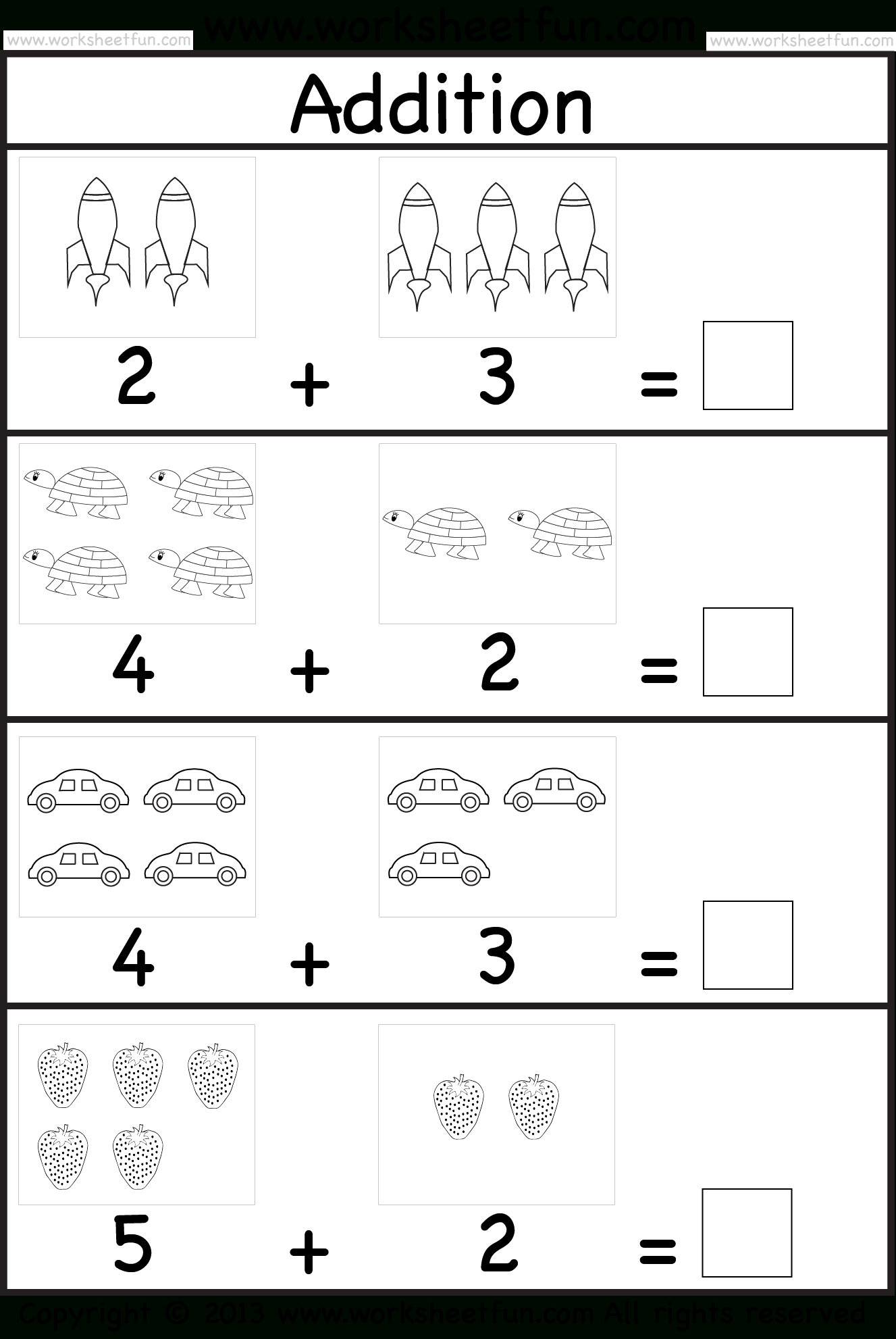 Addition Worksheet. This Site Has Great Free Worksheets For   Free Printable Preschool Addition Worksheets