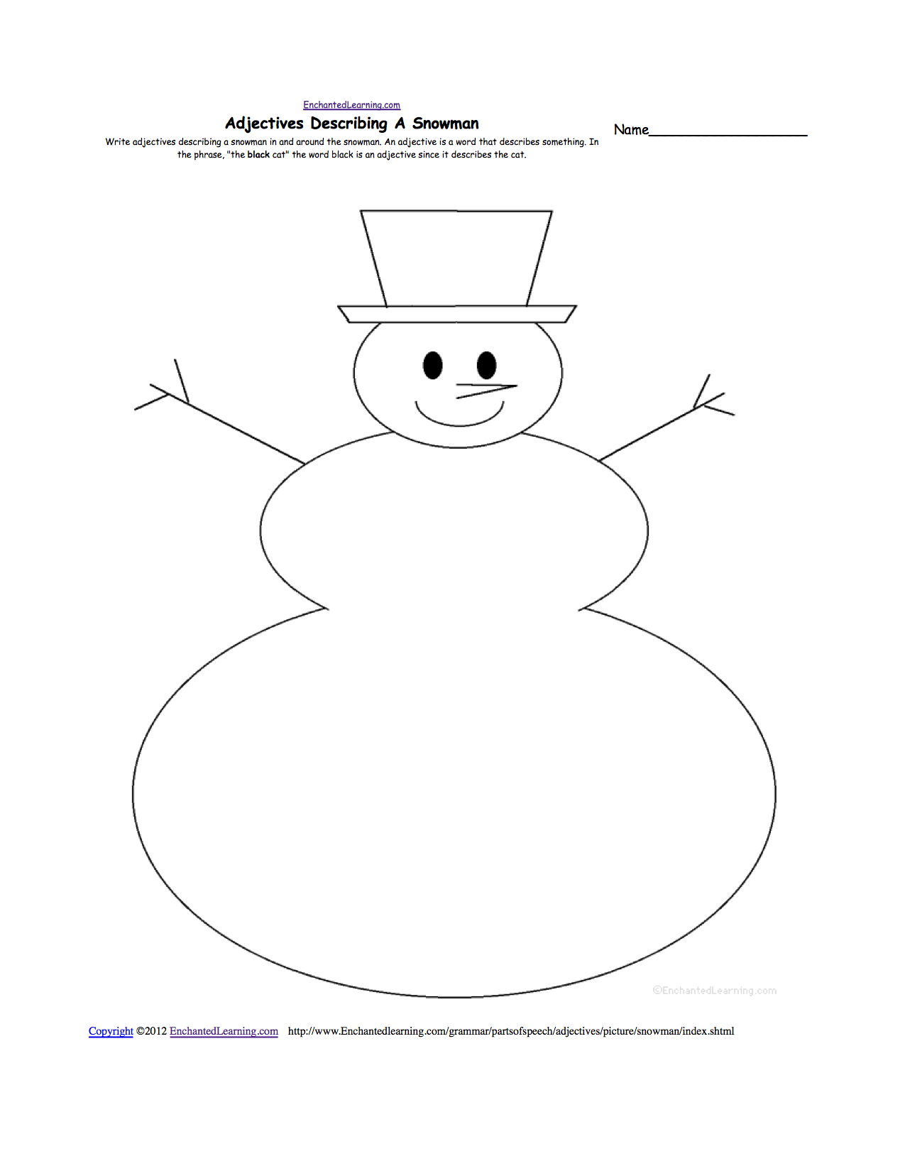 Adjectives Describing A Snowman - Printable Worksheet | Snowman Worksheet Printables
