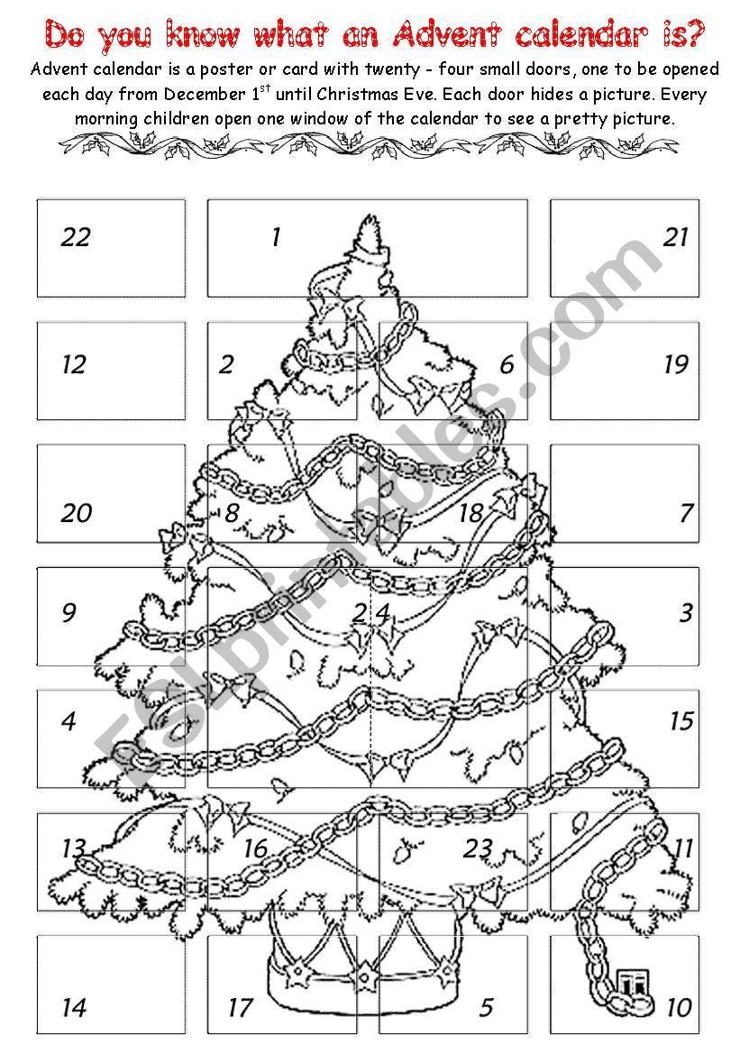 Advent Calendar 1 - Esl Worksheetchiaretta   Advent Printable Worksheets