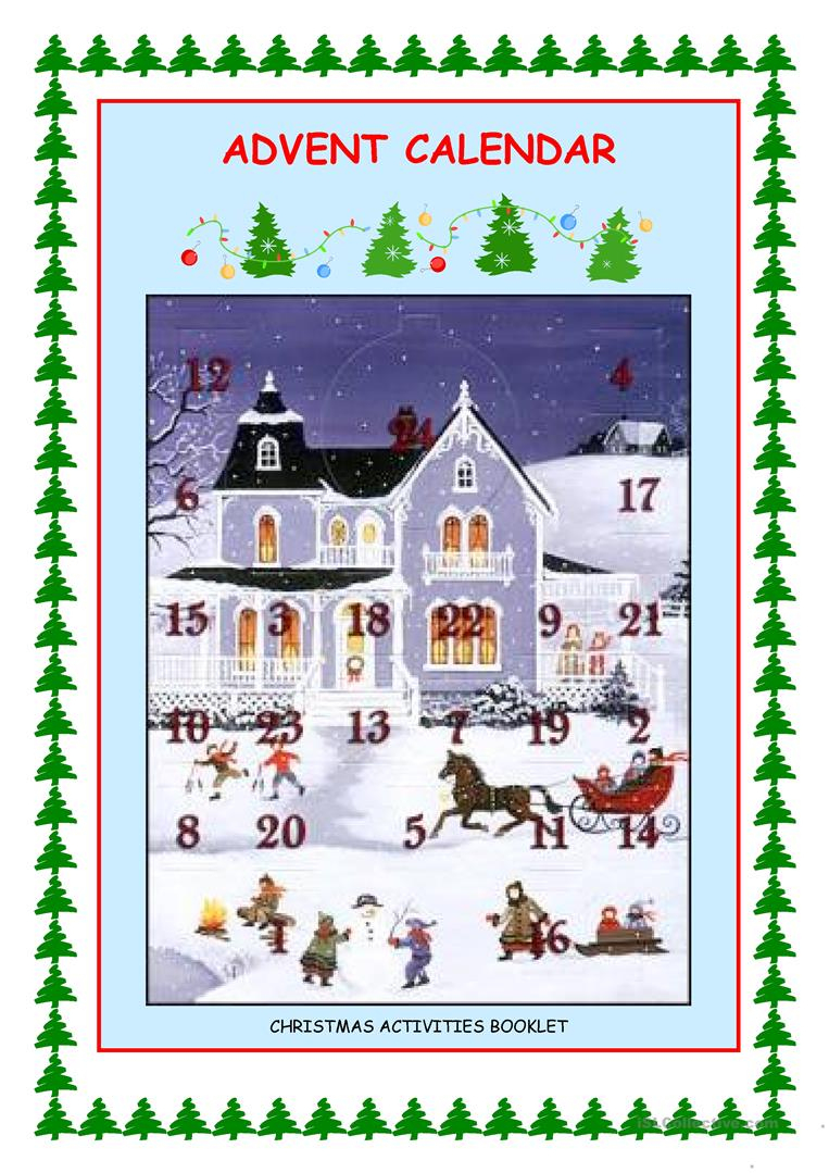 Advent Calendar - Christmas Activities Worksheet - Free Esl   Advent Printable Worksheets