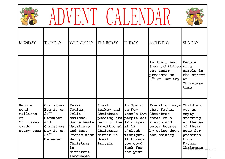 Advent Calendar Worksheet - Free Esl Printable Worksheets Made   Advent Printable Worksheets