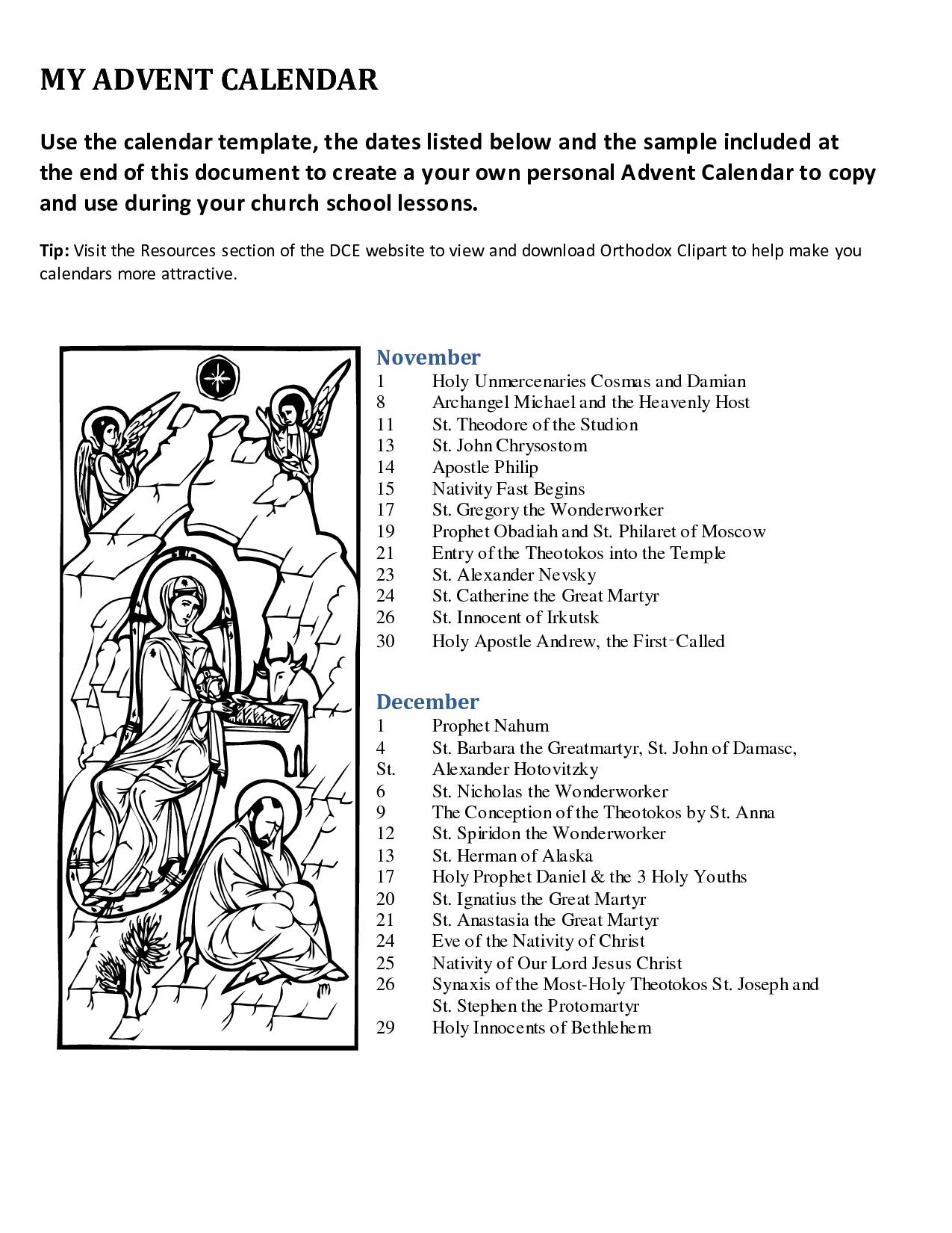 Advent+Printable+Calendar+Templates   Advent Traditions Catholic   Advent Printable Worksheets