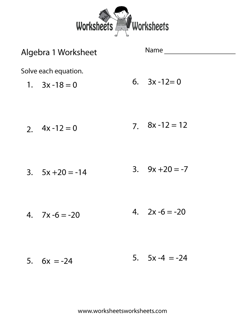 Algebra 1 Practice Worksheet Printable | Algebra Worksheets - Free | Free Printable 8Th Grade Algebra Worksheets