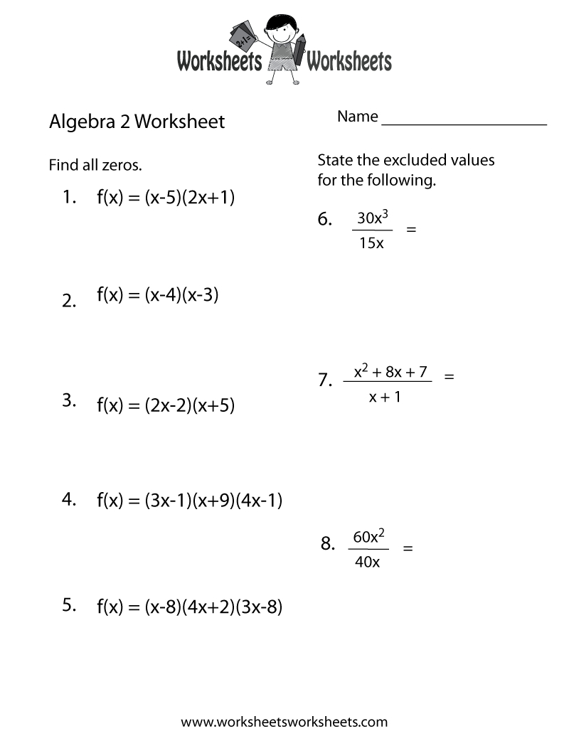 Algebra 2 Practice Worksheet Printable | Algebra Worksheets | Printable Equation Worksheets