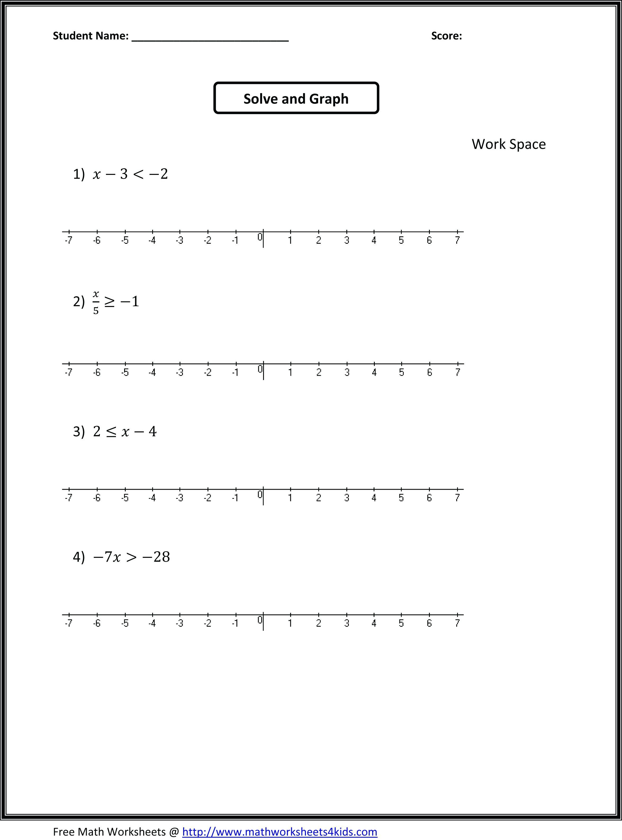 Algebra: Grade Math Worksheets Algebra Word Problems Printable   7Th Grade Math Worksheets Printable With Answers
