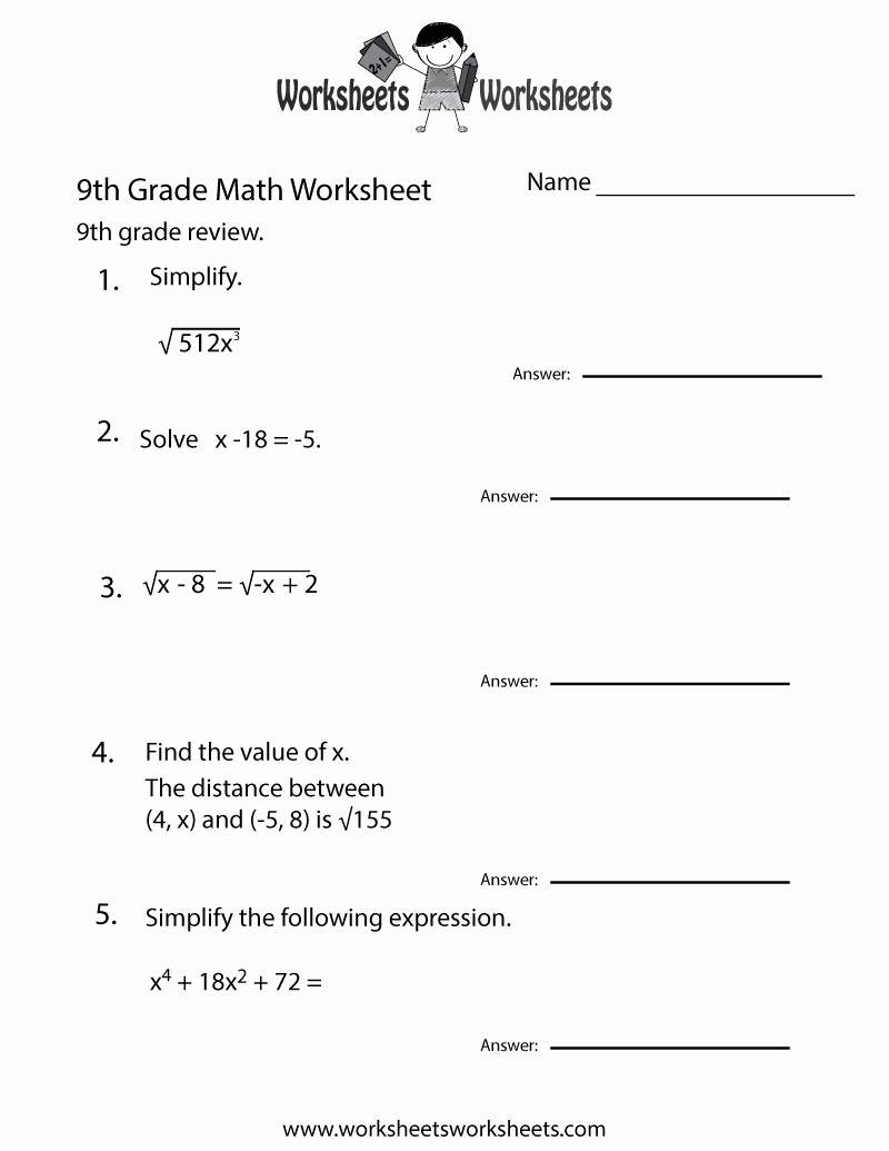 Algebra: Math Worksheets For 9Th Grade Algebra Aggelies Eu Practice | 9Th Grade Algebra Worksheets Free Printable