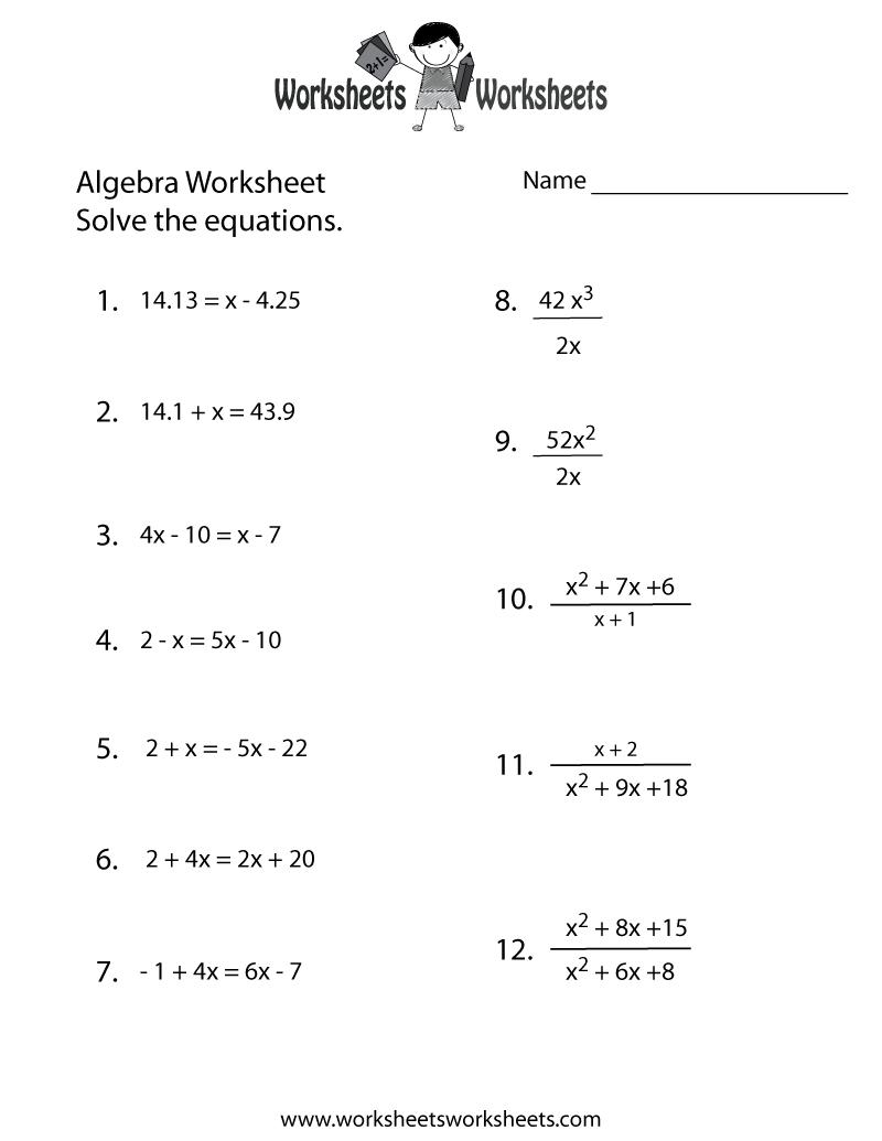Algebra Practice Worksheet Printable   Algebra Worksheets   Algebra   Free Printable Pre Algebra Worksheets