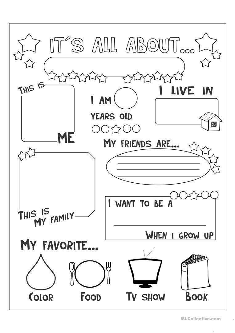 All About Me Worksheet - Free Esl Printable Worksheets Made | Free Printable Esl Worksheets For High School
