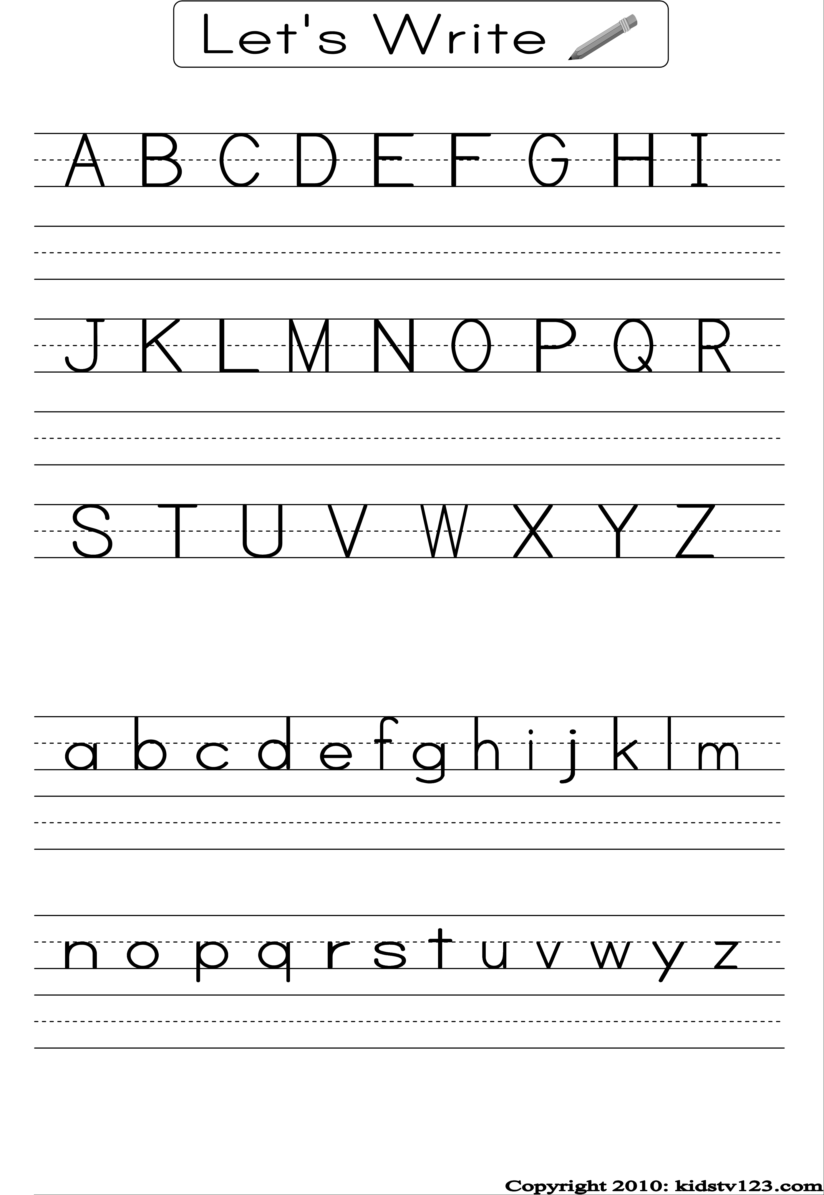 Alphabet Writing Practice Sheet | Edu-Fun | Alphabet Worksheets | Printable Alphabet Worksheets
