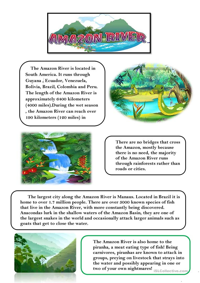 Amazon River Worksheet - Free Esl Printable Worksheets Madeteachers | River Worksheets Printables