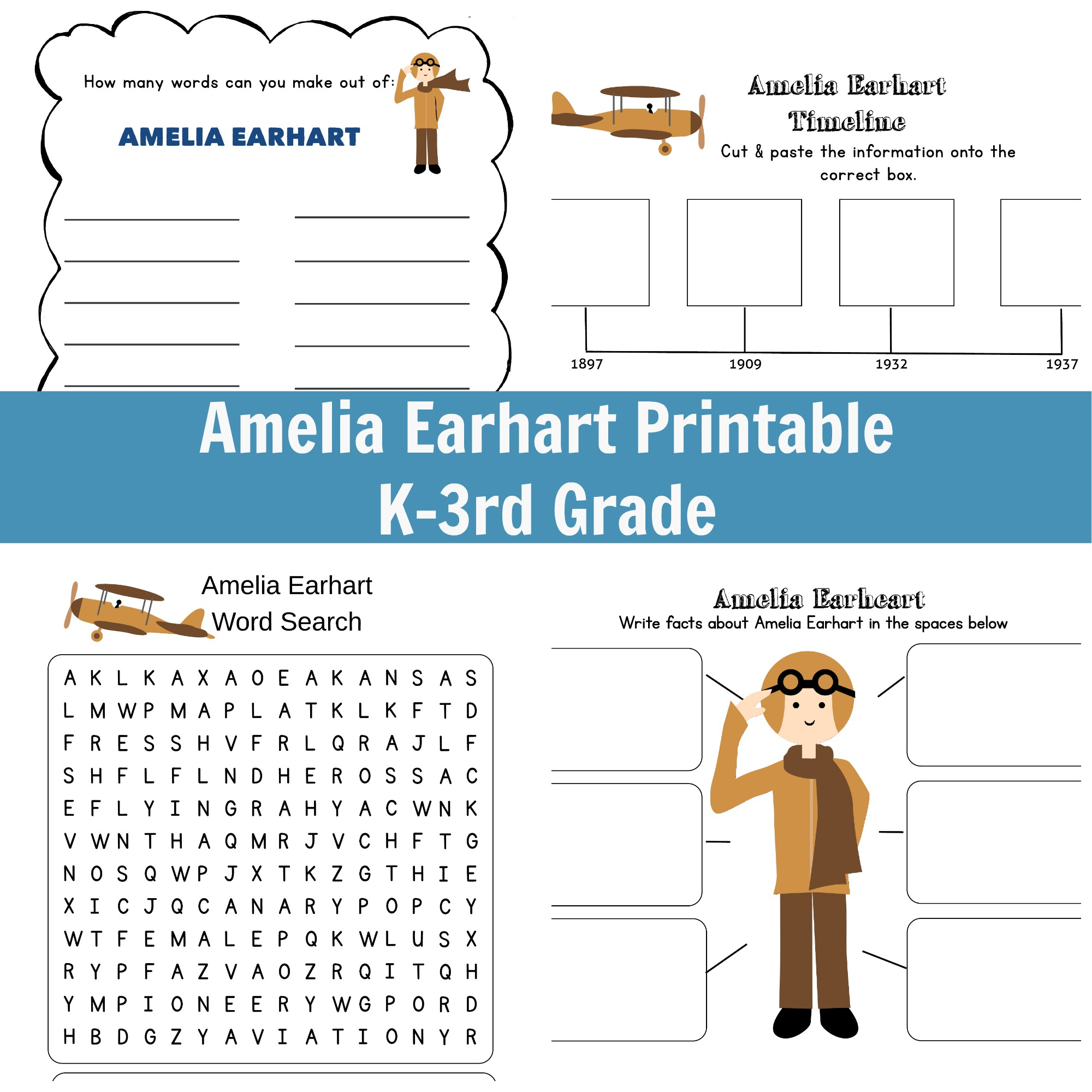Amelia Earhart Printable - Grades K-3 | Amelia Earhart Free Worksheets Printable