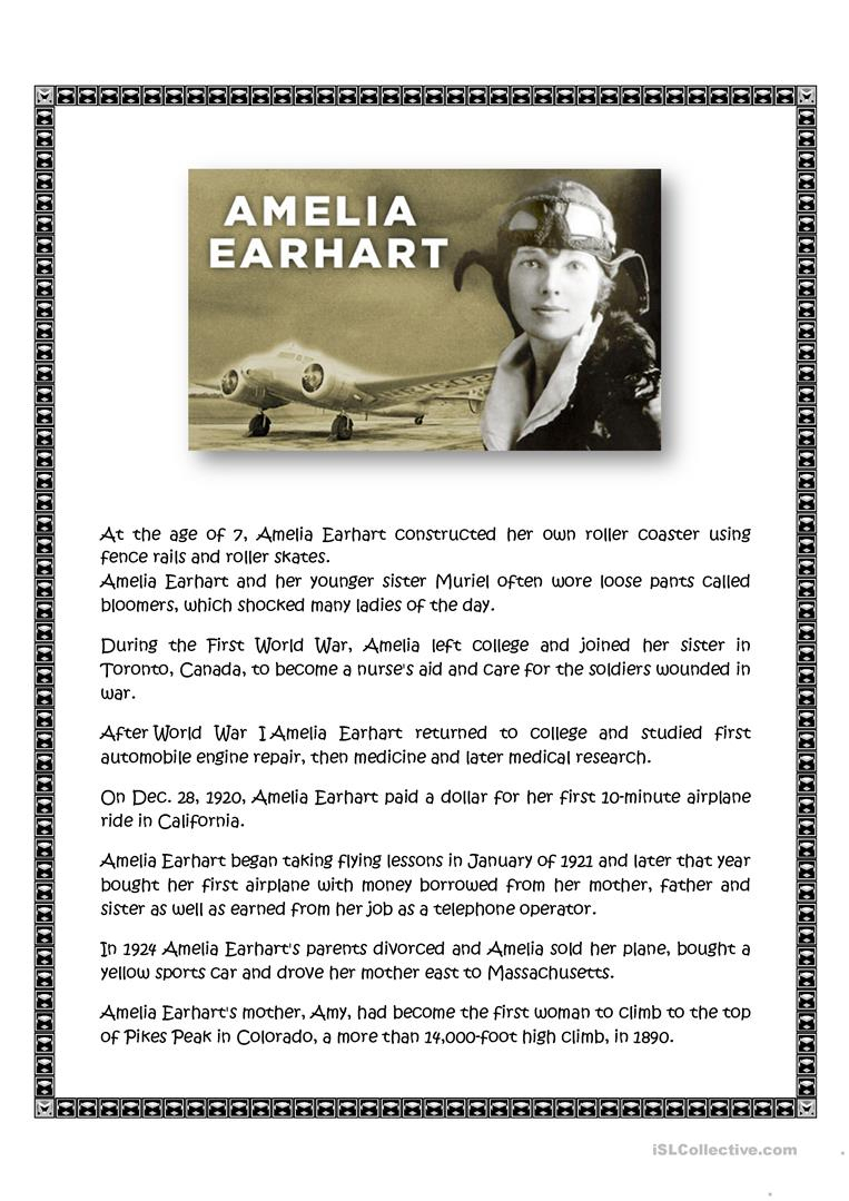 Amelia Earhart Worksheet - Free Esl Printable Worksheets Made | Amelia Earhart Free Worksheets Printable