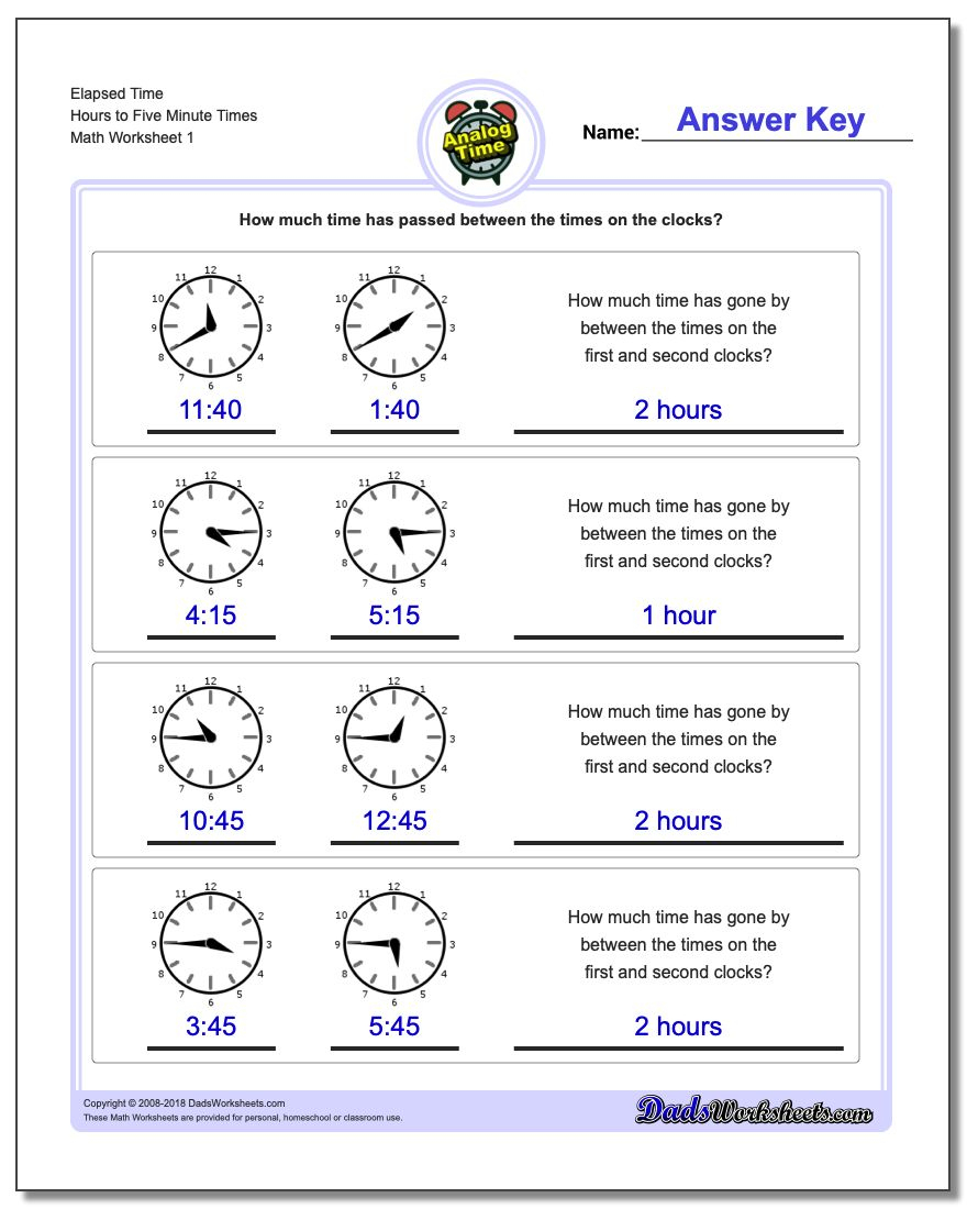 Analog Elapsed Time | Printable Time Worksheets Grade 3