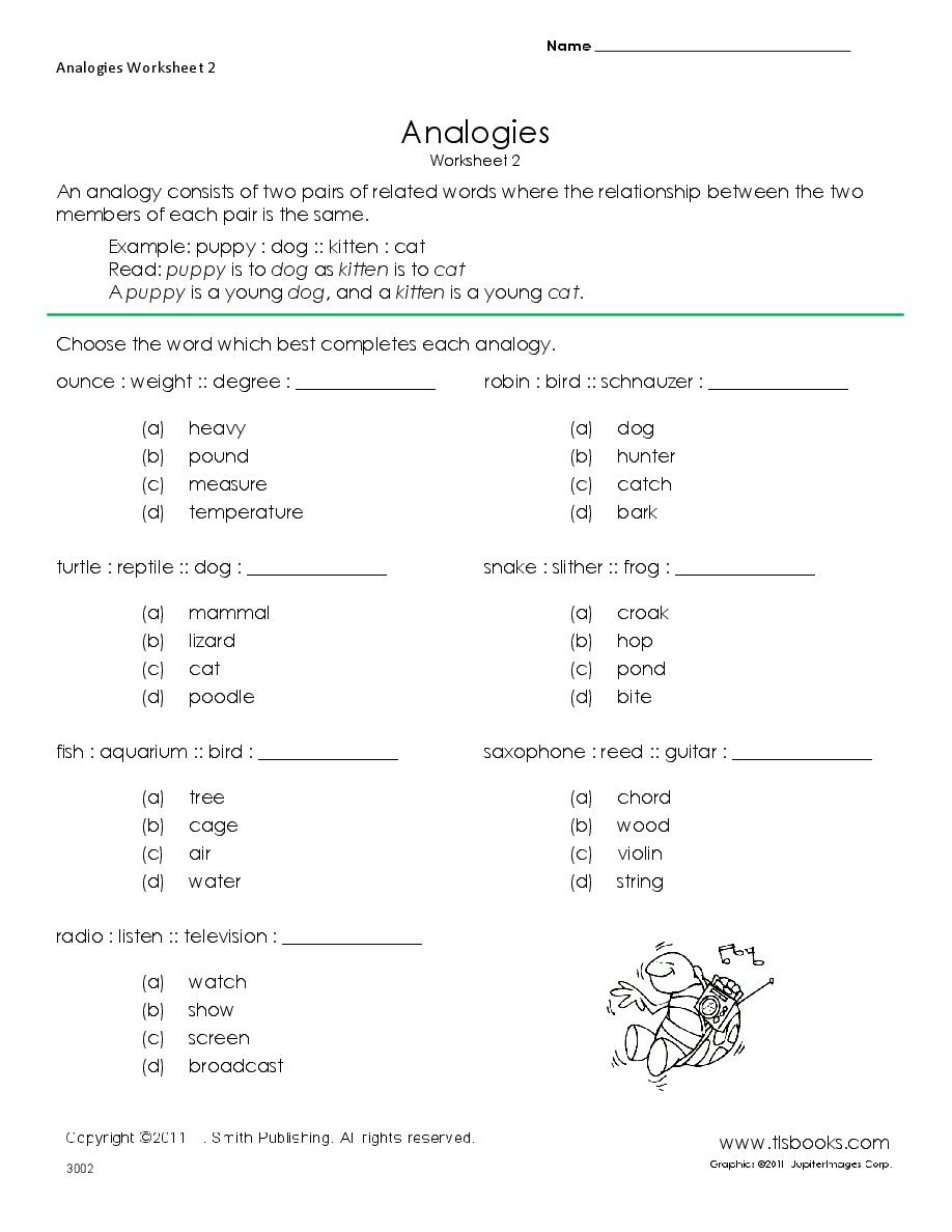 Analogies Worksheet 2 | Language Arts Stuff | Middle School Reading | Analogy Worksheets For Middle School Printables