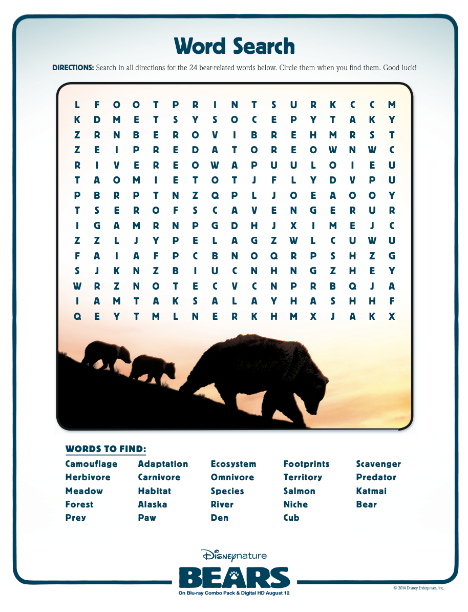 Animal Adaptations | Disney Bears | Video Worksheet | Science | Free Printable Worksheets Animal Adaptations