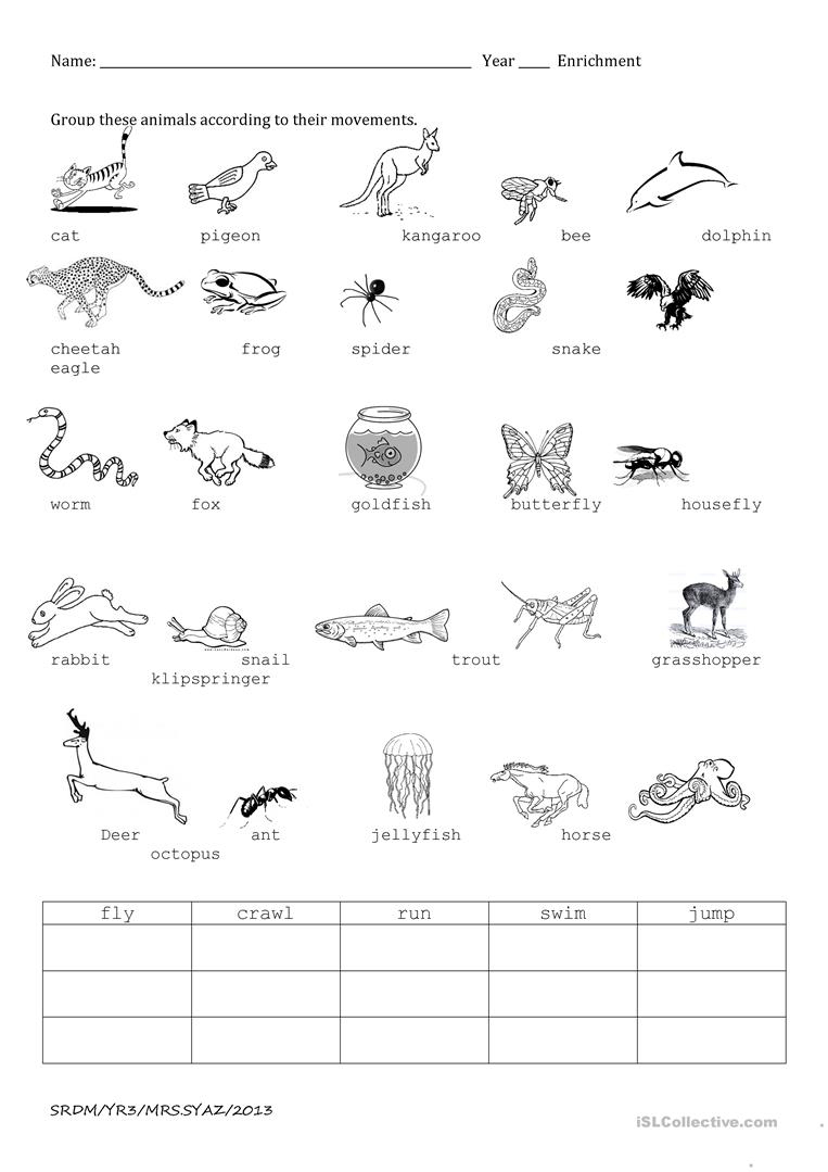 Animal Movements Worksheet - Free Esl Printable Worksheets Made | Free Printable Pet Worksheets