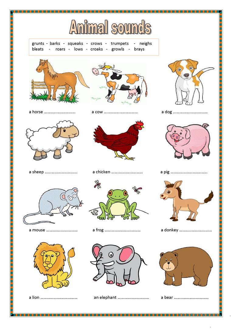 Animal Sounds. (Key Included) Worksheet - Free Esl Printable | Animal Sounds Printable Worksheets