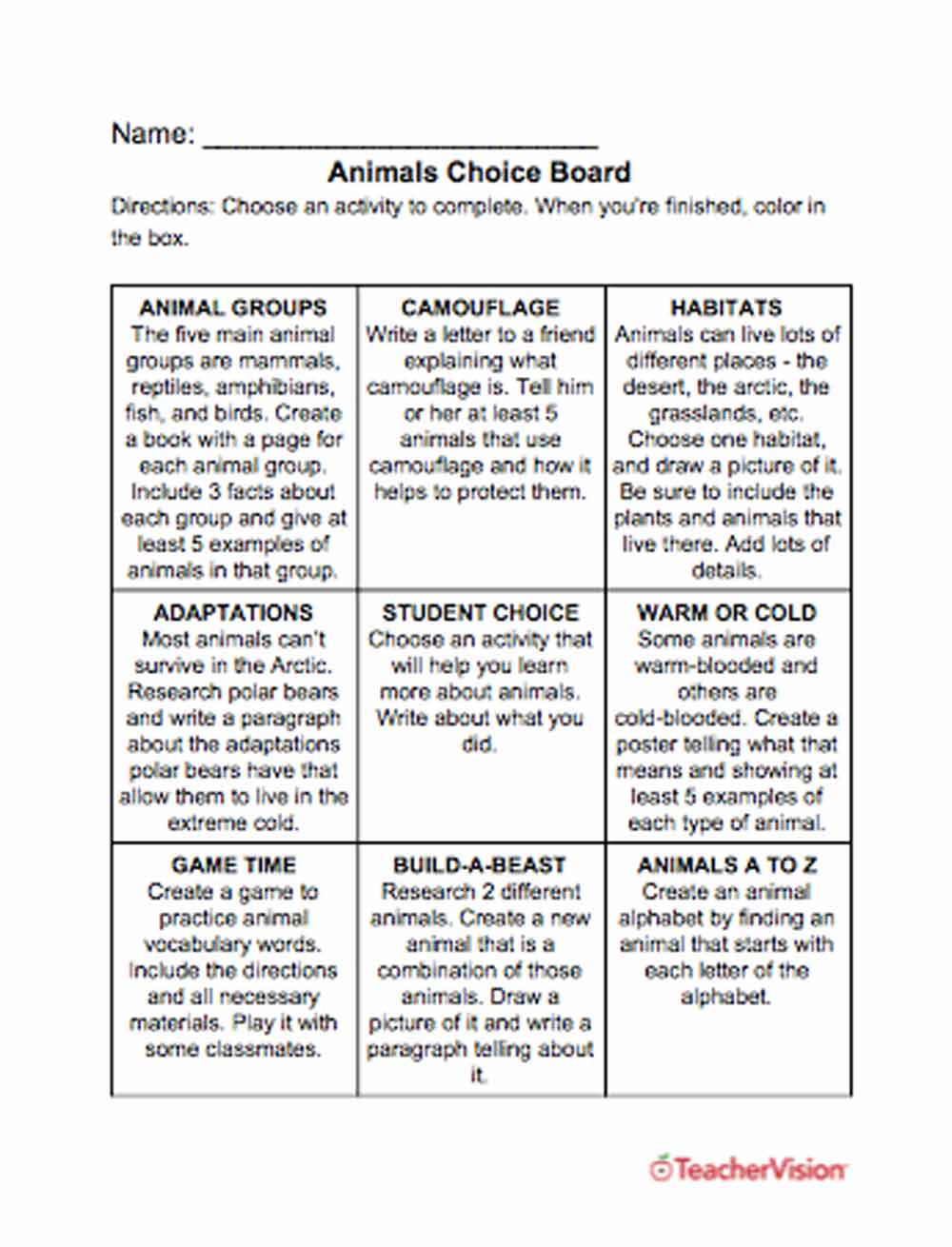 Animals Printables, Lessons, And Activities: Grades K-12 - Teachervision | Free Printable Worksheets Animal Adaptations