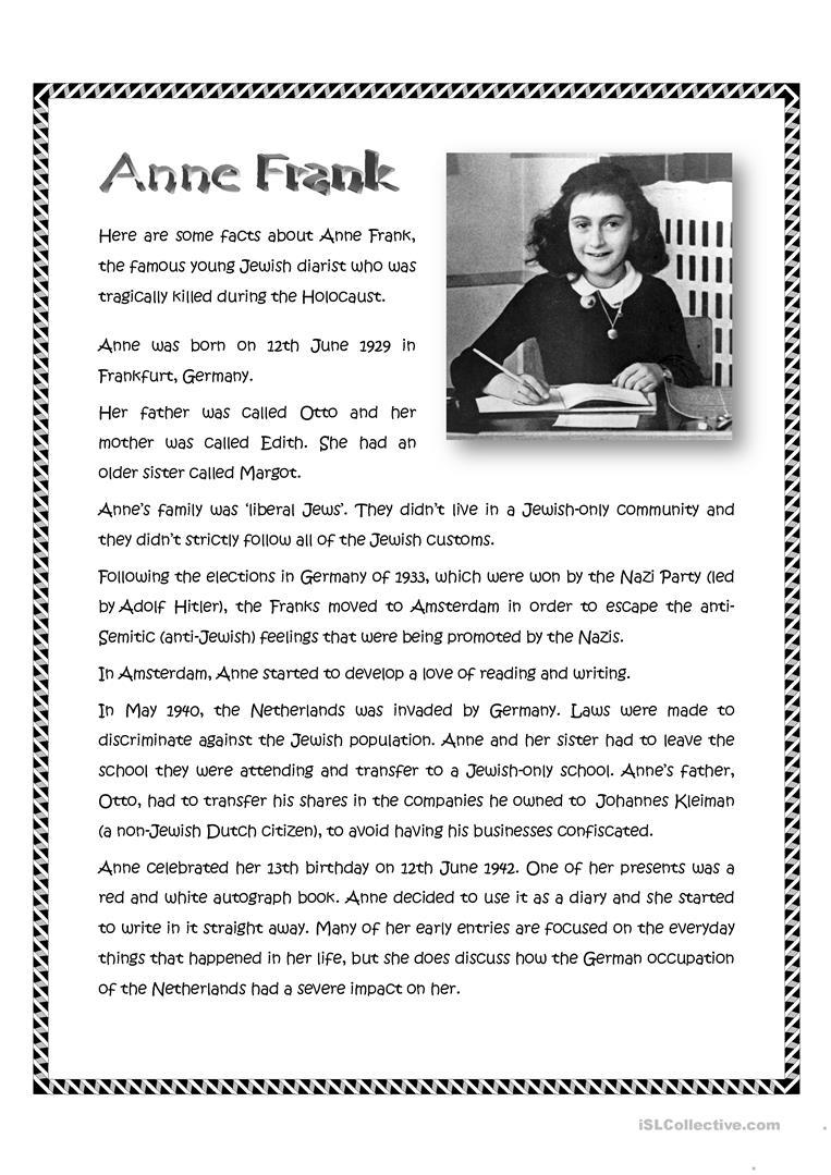 Anne Frank Worksheet - Free Esl Printable Worksheets Madeteachers | Holocaust Printable Worksheets