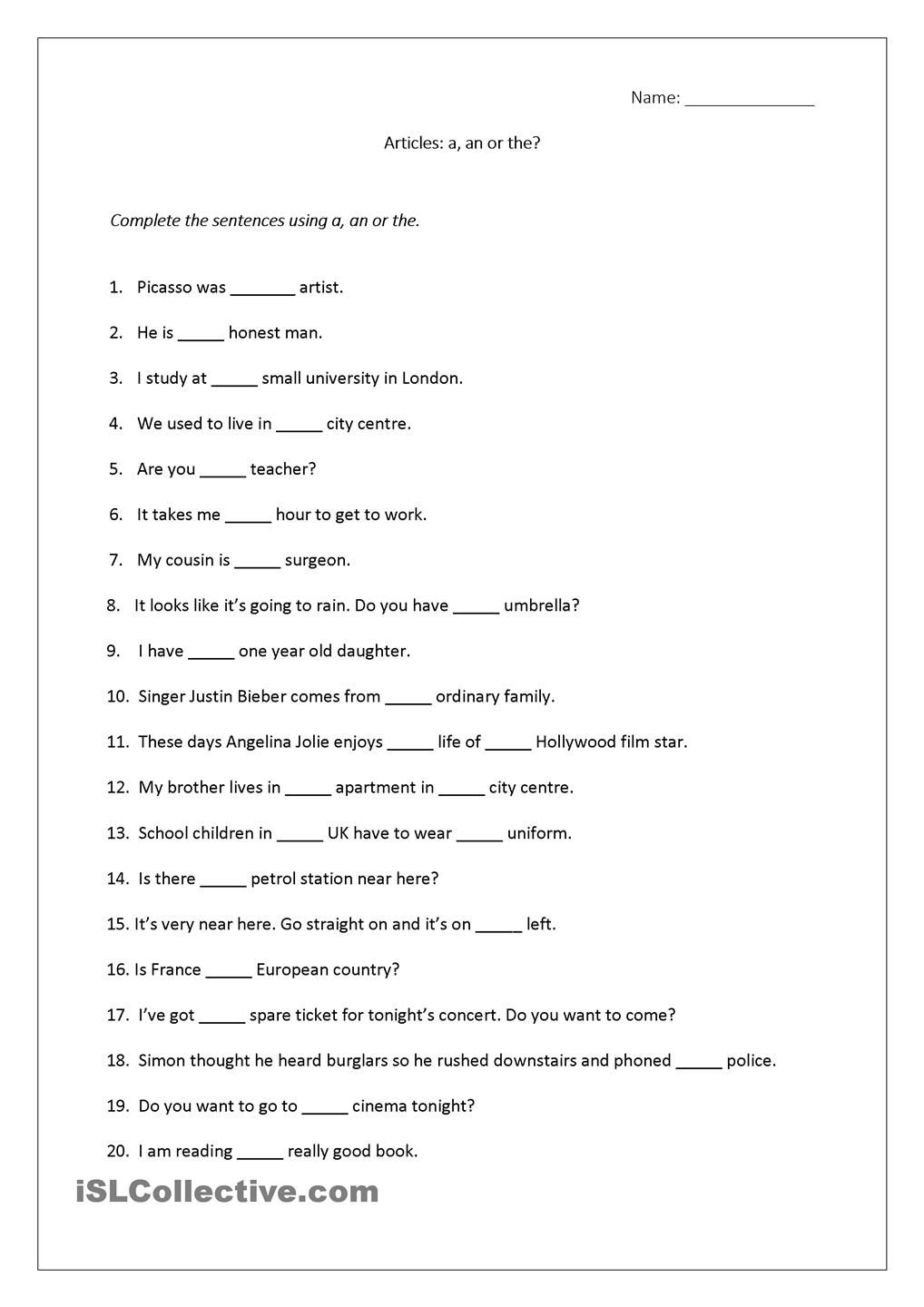 Articles Worksheet (A, An, The) Includes Answers. | Teaching - 2Nd | Free Printable Worksheets On Articles For Grade 1