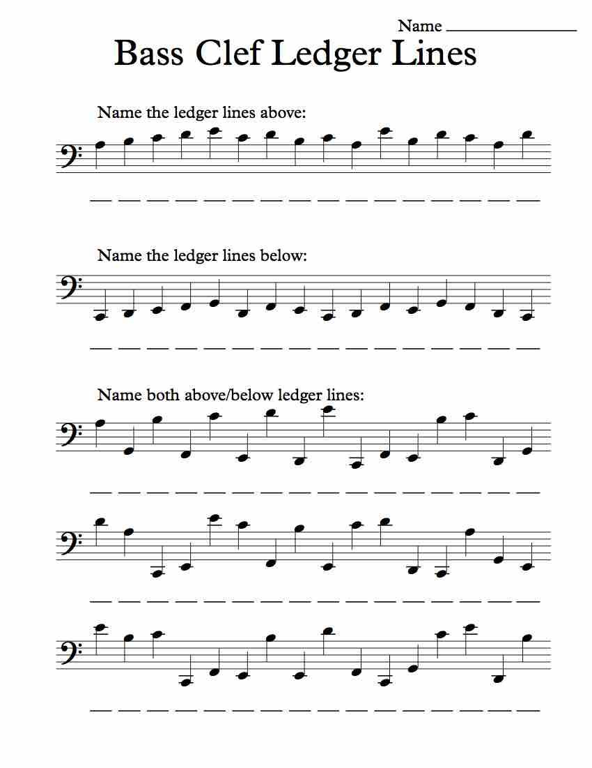 Bass Clef Ledger Lines – Worksheet In 2019 | Music Worksheets | Reading Music Worksheets Printable