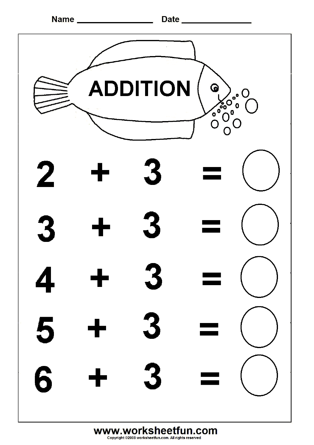 Beginner Addition – 6 Kindergarten Addition Worksheets / Free   Free Printable Preschool Addition Worksheets