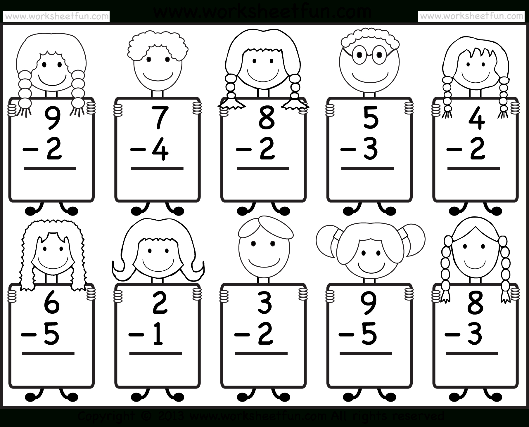 Beginner Subtraction – 10 Kindergarten Subtraction Worksheets / Free | Free Printable Subtraction Worksheets