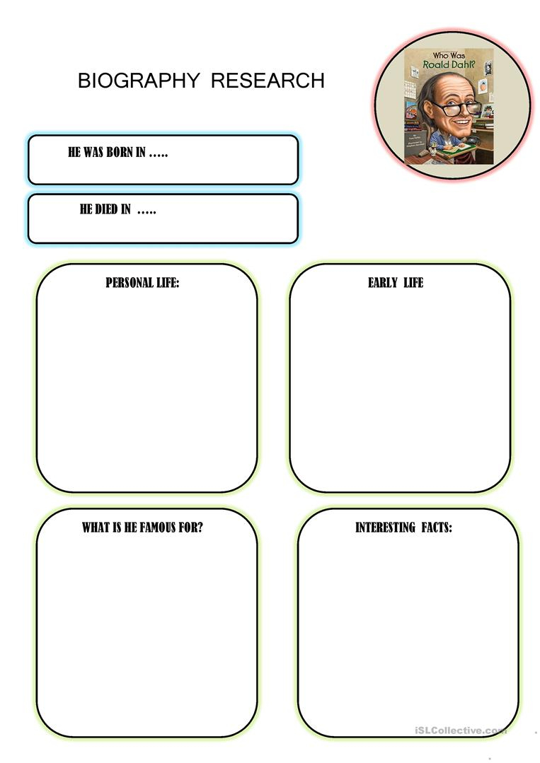 Biography Research Worksheet - Free Esl Printable Worksheets Made | Printable Biography Worksheets