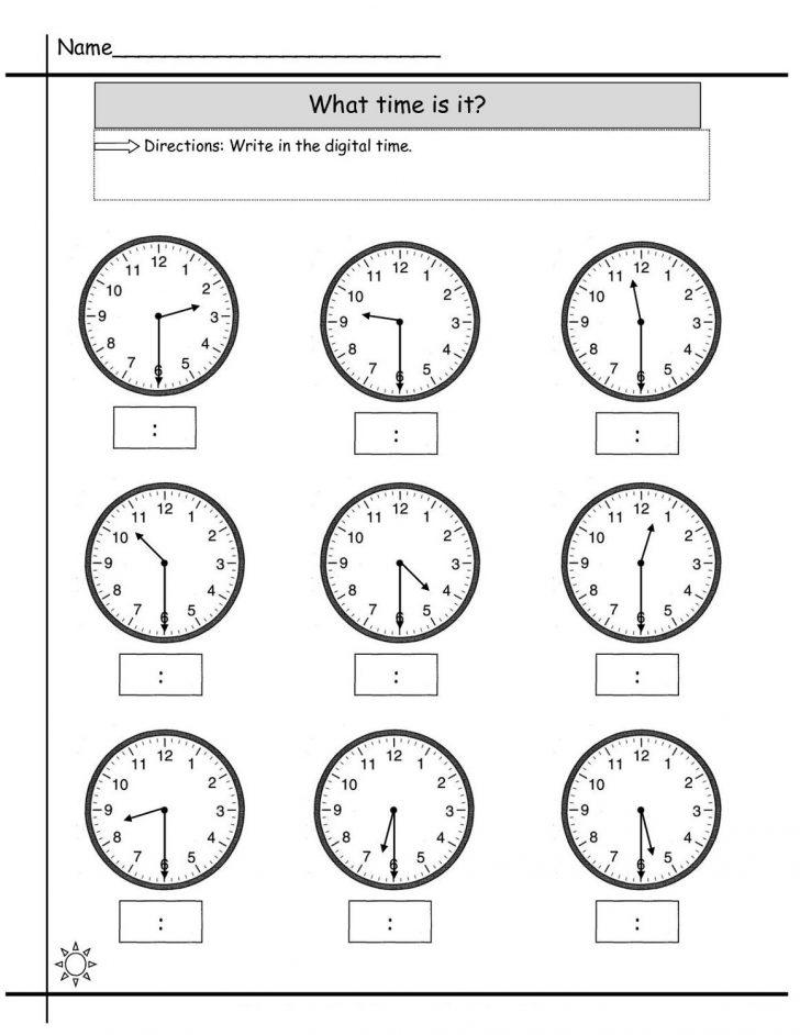 Printable Clock Worksheets First Grade
