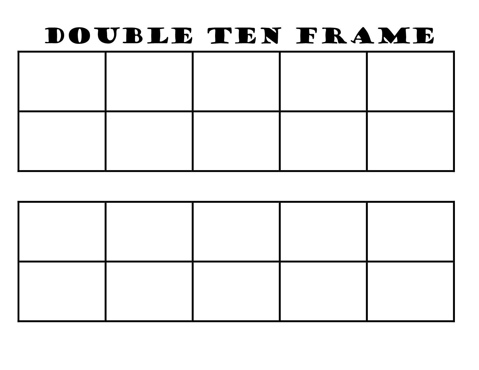 Blank Double Ten Frame Printable | Math | Ten Frames, Frame Template | Ten Frame Printable Worksheets