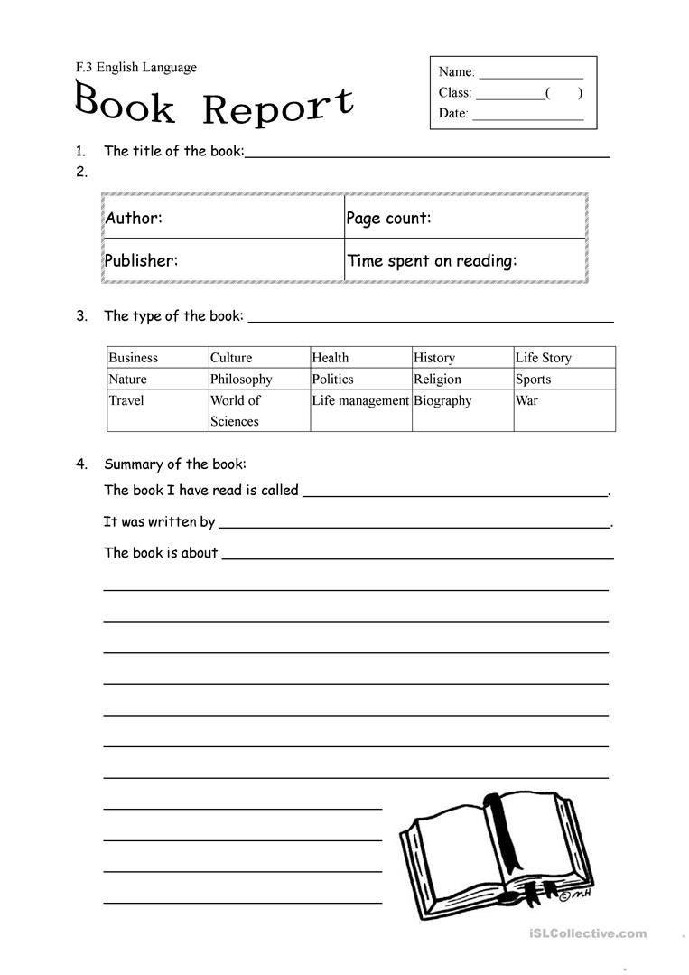 Book Report Form For Non Fiction Worksheet - Free Esl Printable   Book Report Printable Worksheets