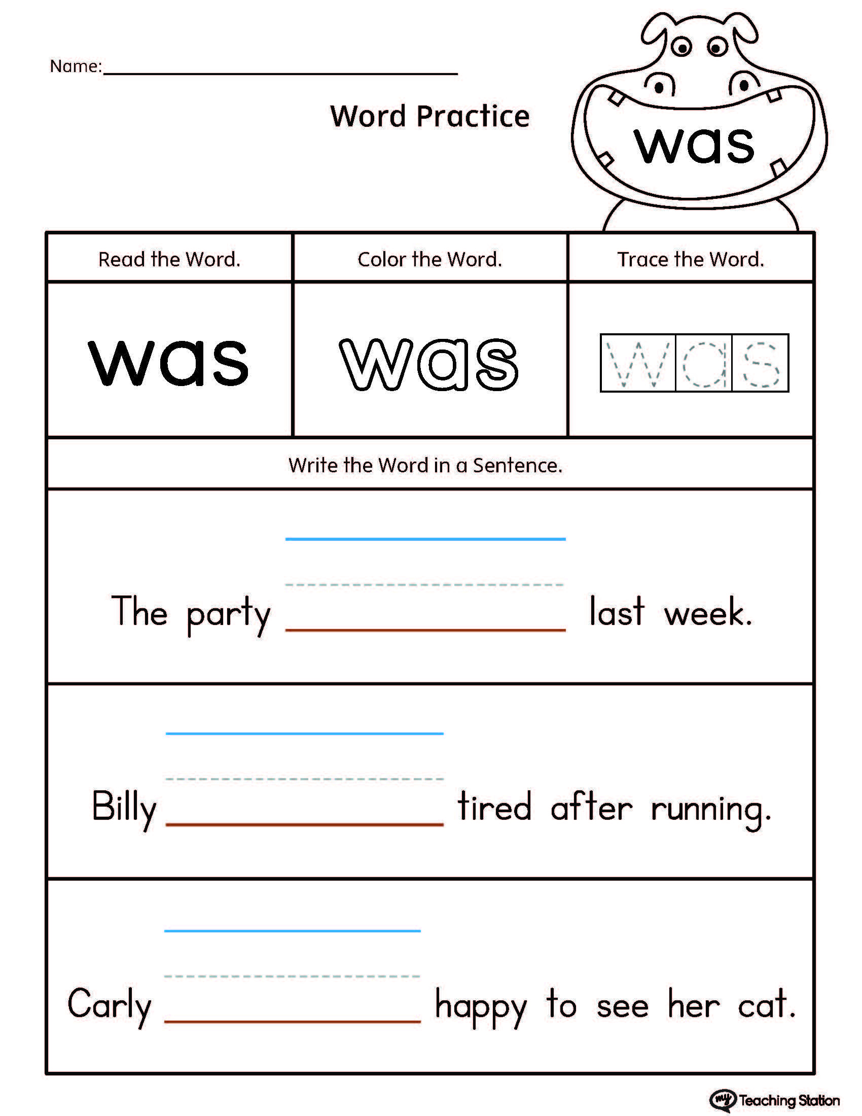 Build Sentences Using Sight Word: Was | School | Pinterest | Sight | Printable Sight Word Worksheets
